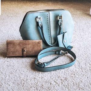 Teal handbag with wallet